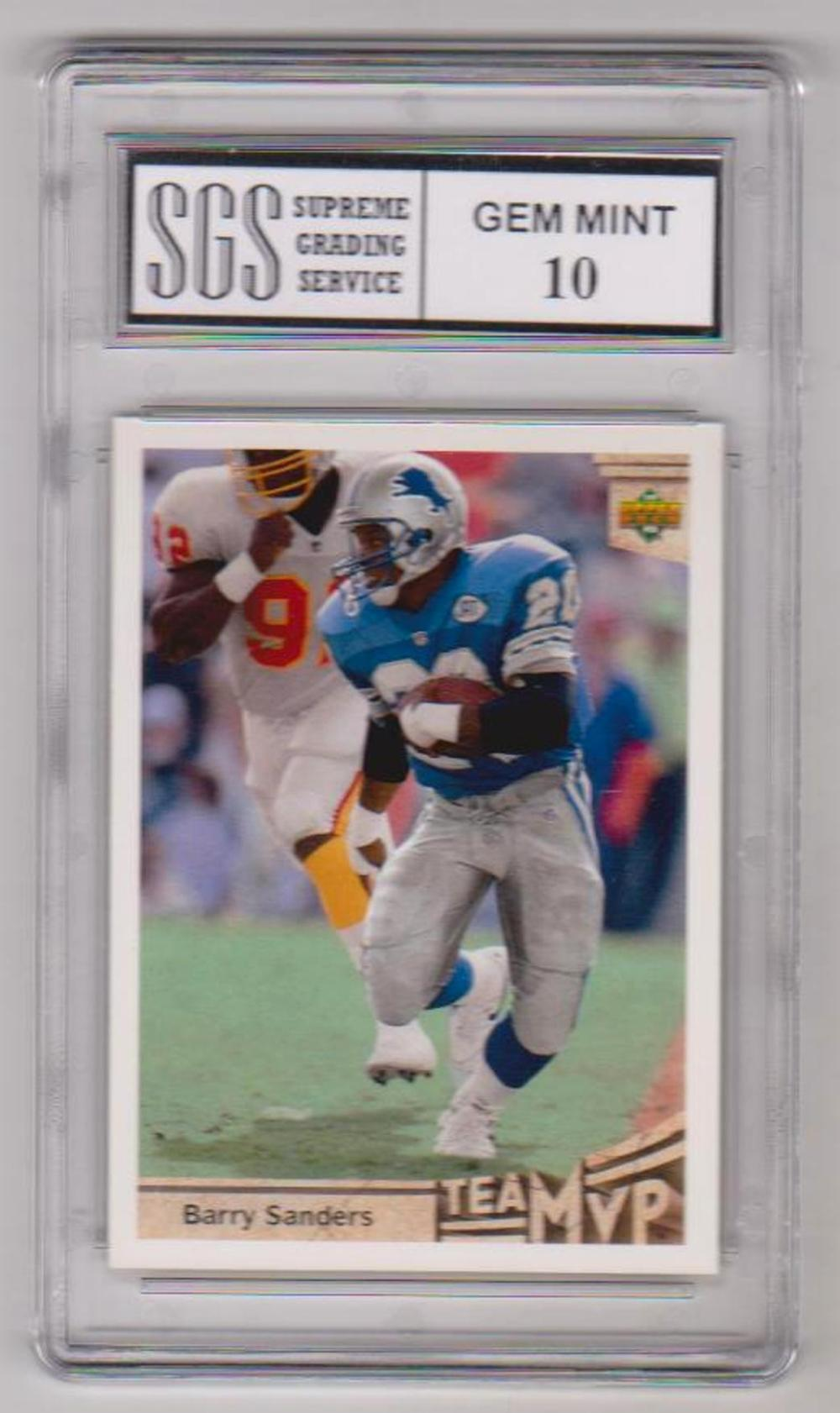 Graded Gem Mint 10 Barry Sanders 1992 Upper Deck #368 Card