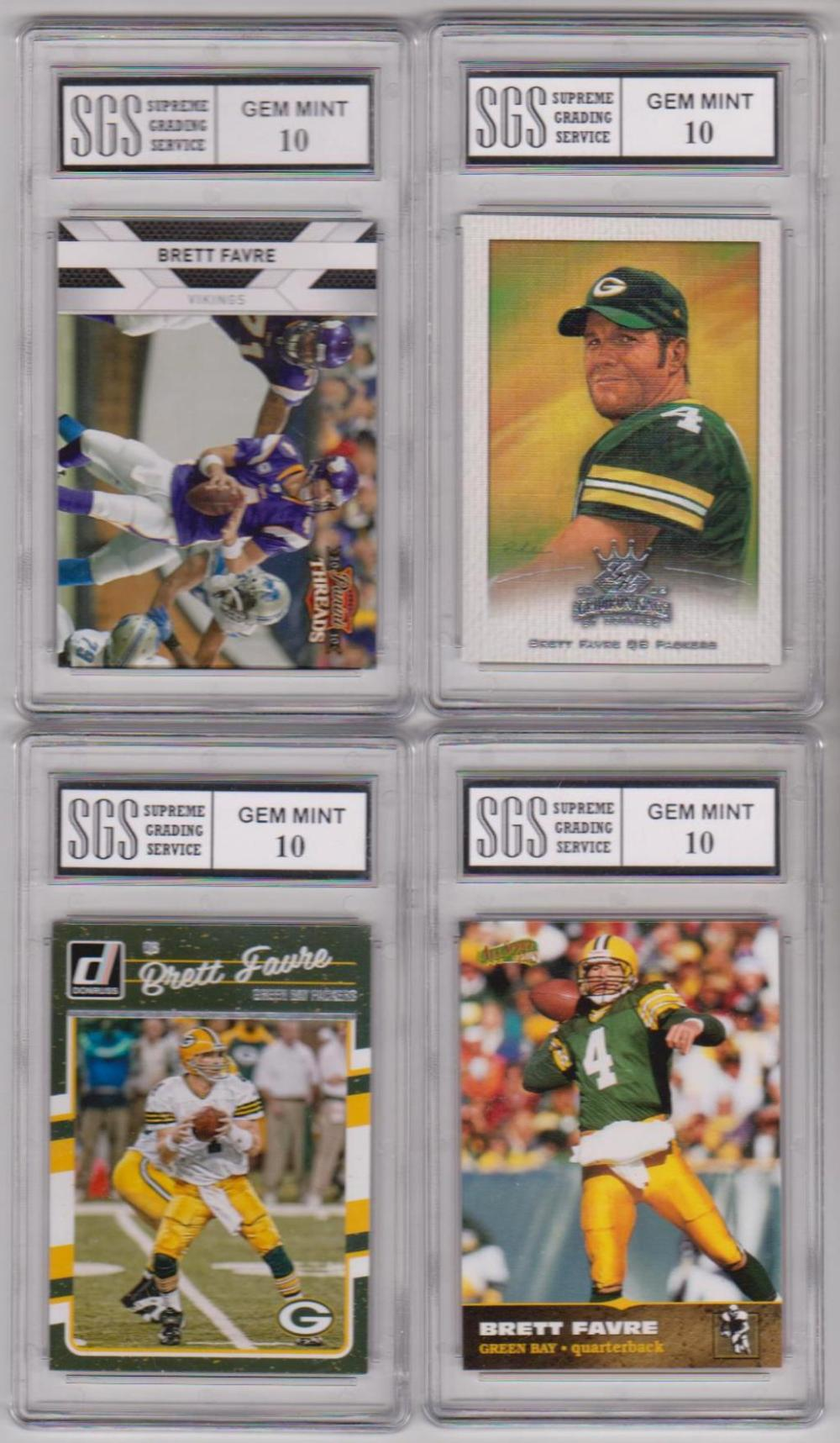 4 Different Graded Gem Mint 10 Brett Favre Cards