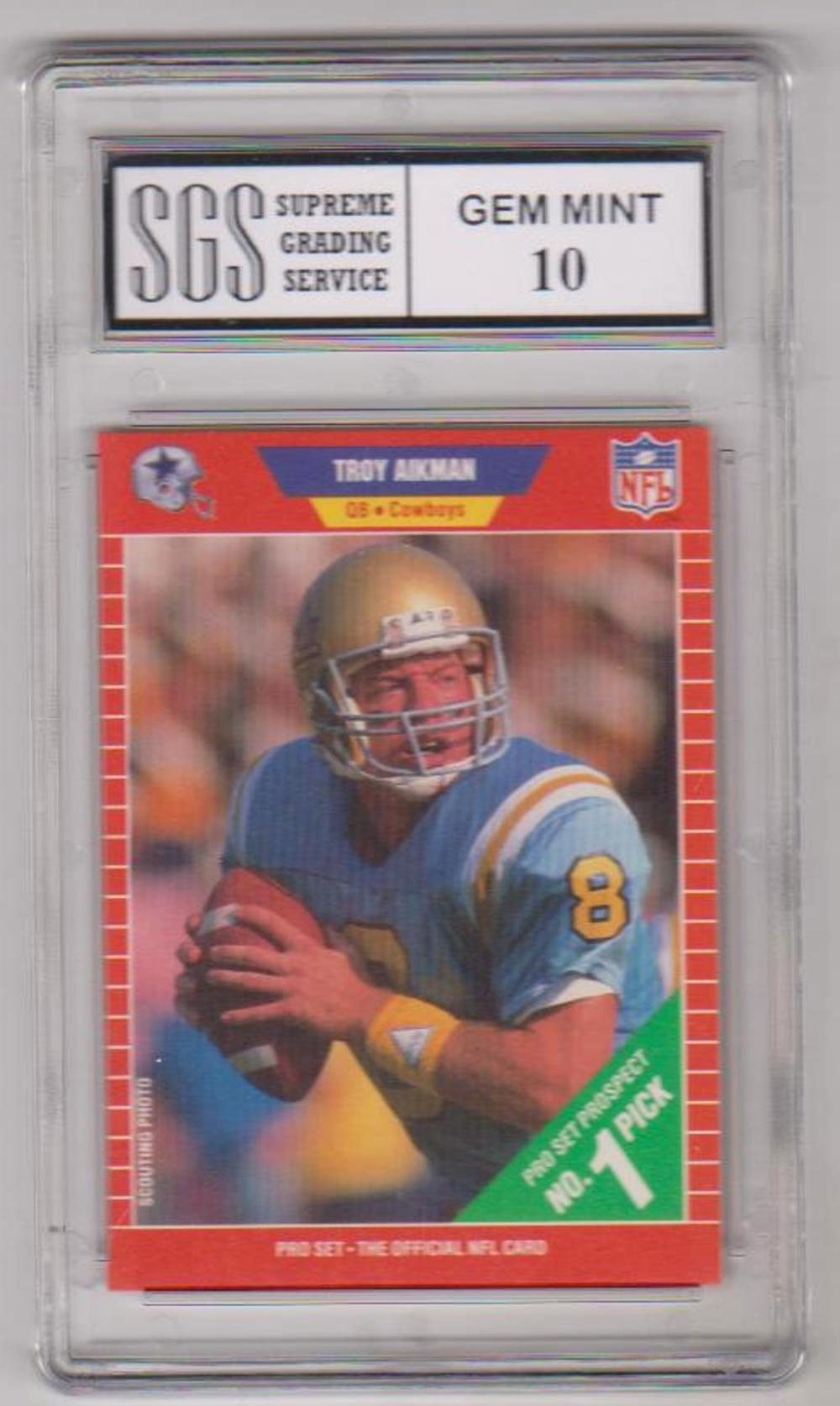 Rookie Graded Gem Mint 10 Troy Aikman 1989 Pro Set #490 Card