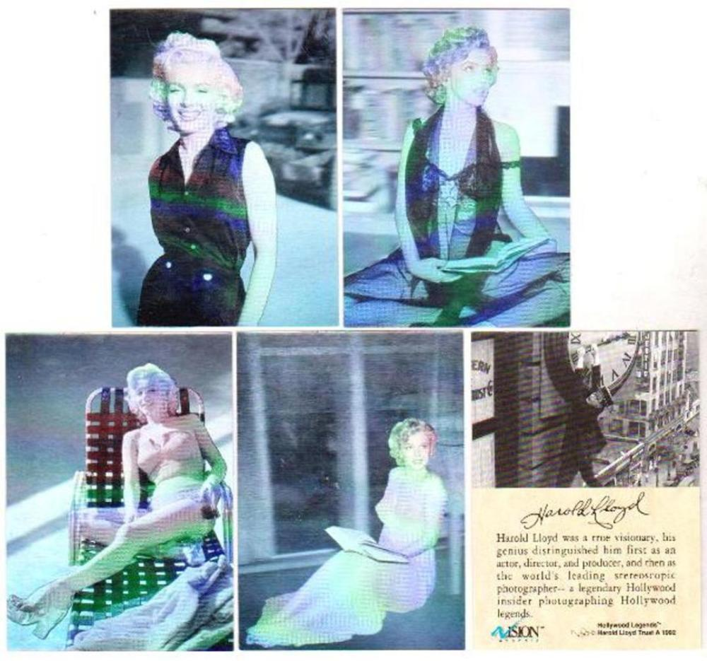 1992 Marilyn Monroe Holograms 4 Card Set w/ COA - Hollywood Legends