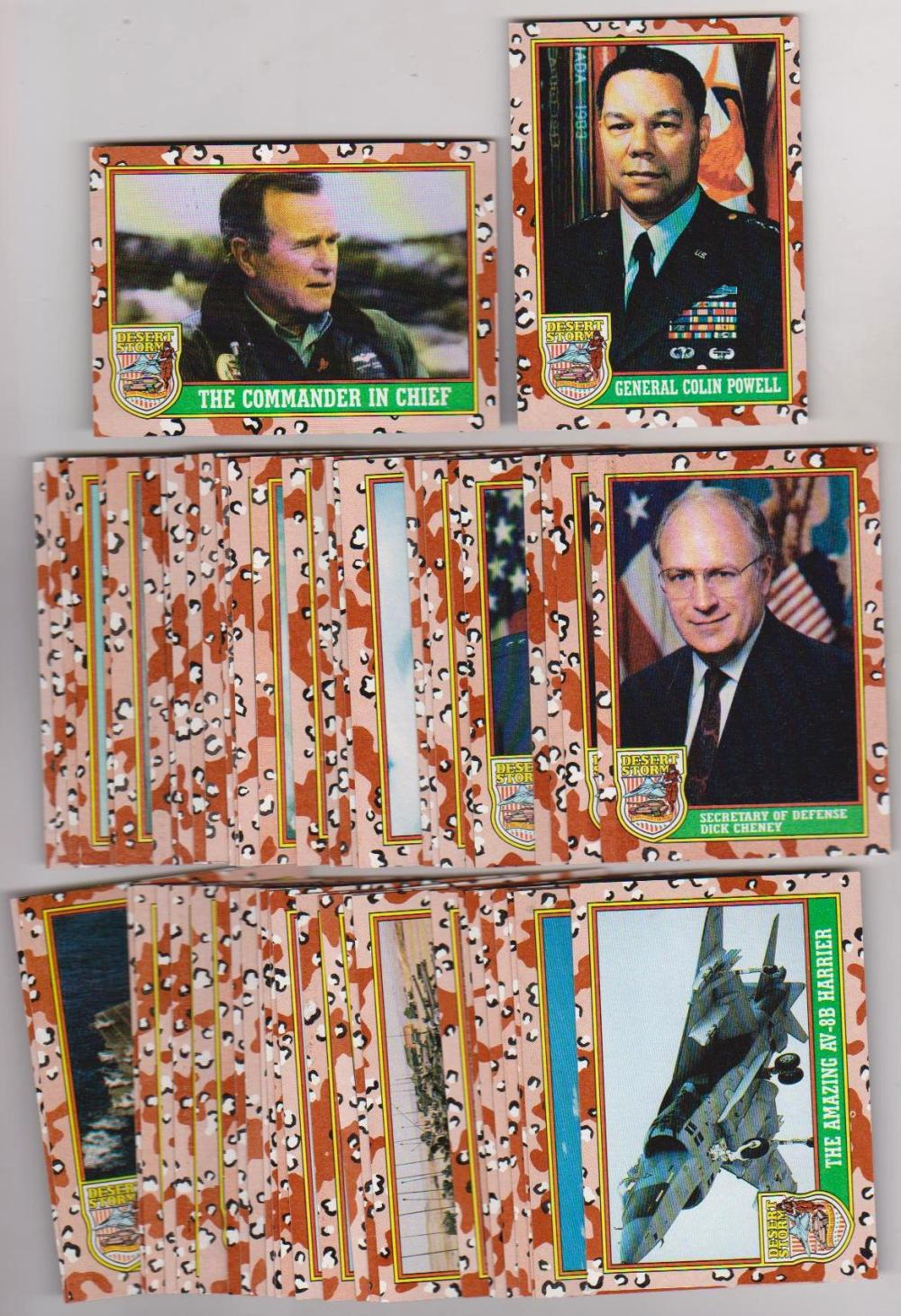 Lot of 3 1991 Topps Official DESERT STORM Complete Set with GEORGE BUSH + More