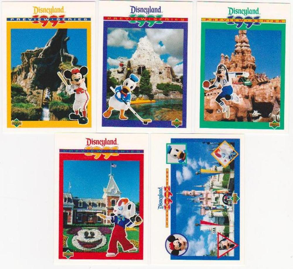 1991 Upper Deck Walt Disneyland Preview 5 Card Set - Tough To Find