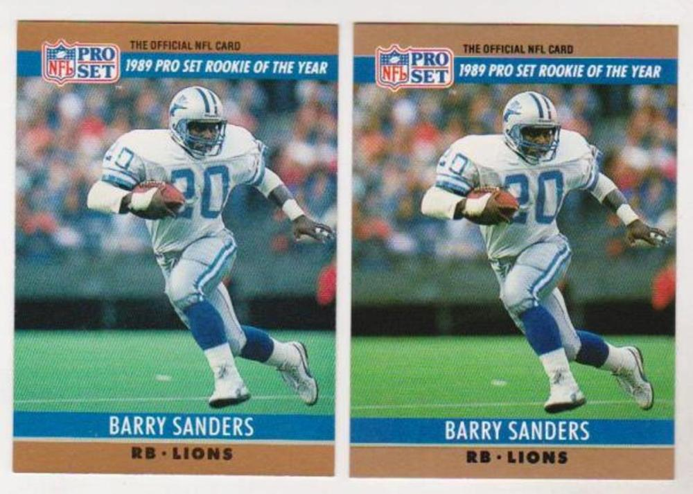 Barry Sanders 1990 Pro Set Double Front Error + Correct Pair