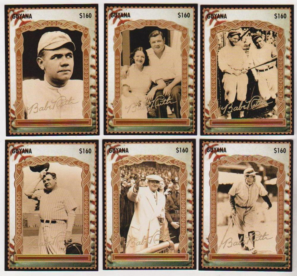 6 Different Babe Ruth Guyana $160 Gold Signature Stamp Cards