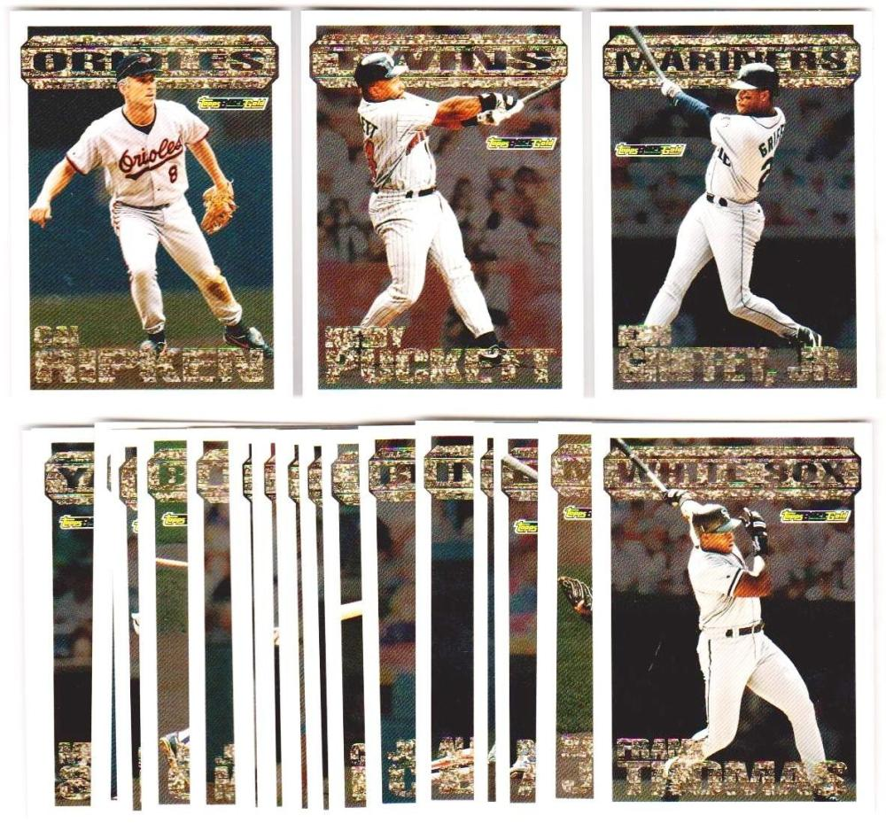 1994 Topps Black Gold Series 1 Baseball 22 Card Insert Set w/ Griffey, Ripken + More