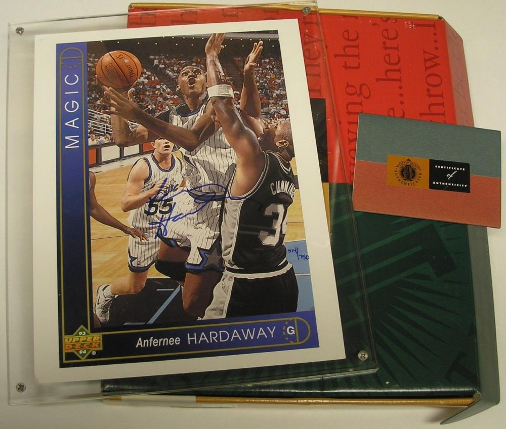 Signed - UDA Anfernee Penny Hardaway Autographed 1993/94 Upper Deck Rookie Blowup #ed/750