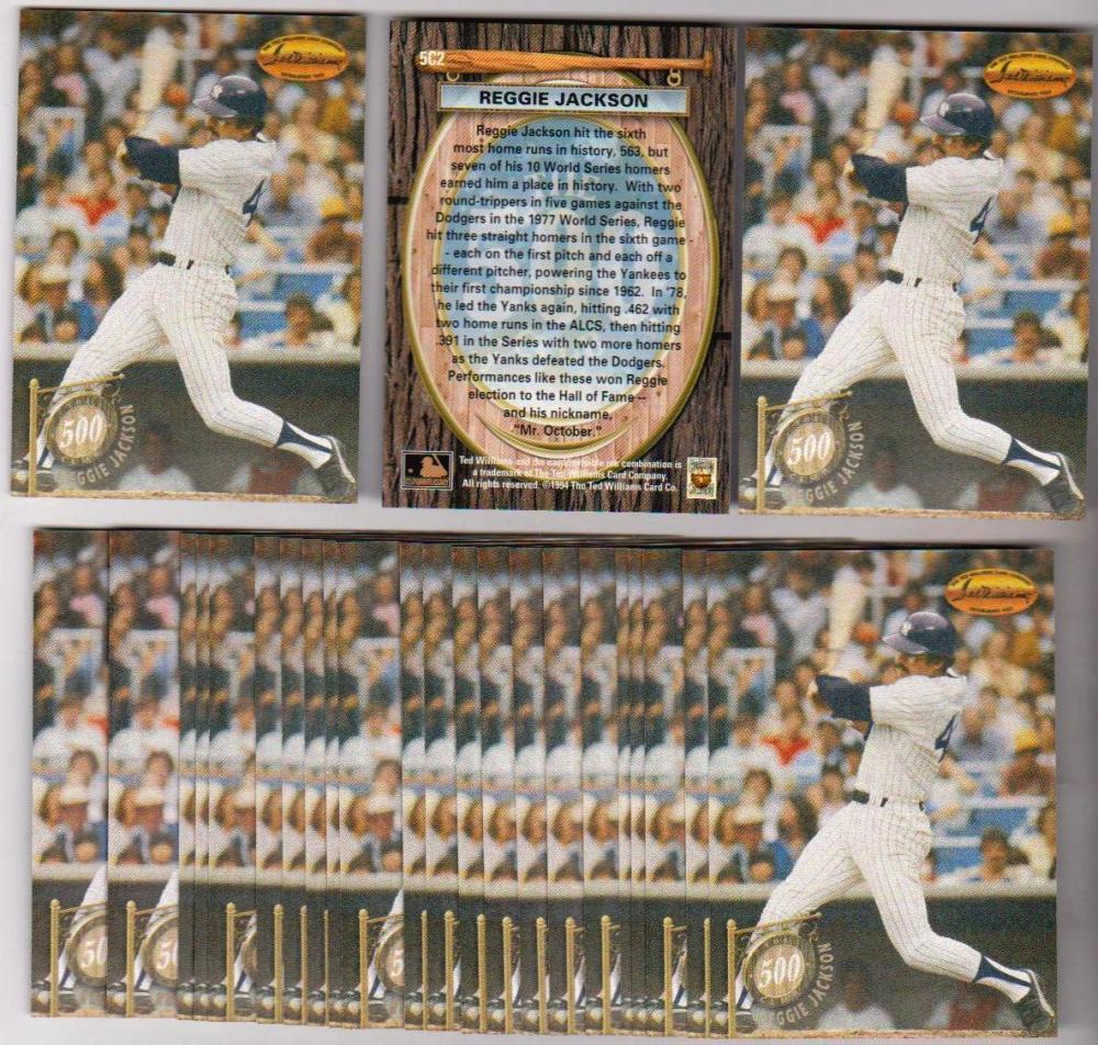 Lot of 25 1994 Ted Williams Company 500 Home Run Club Reggie Jackson #5C2 Inserts