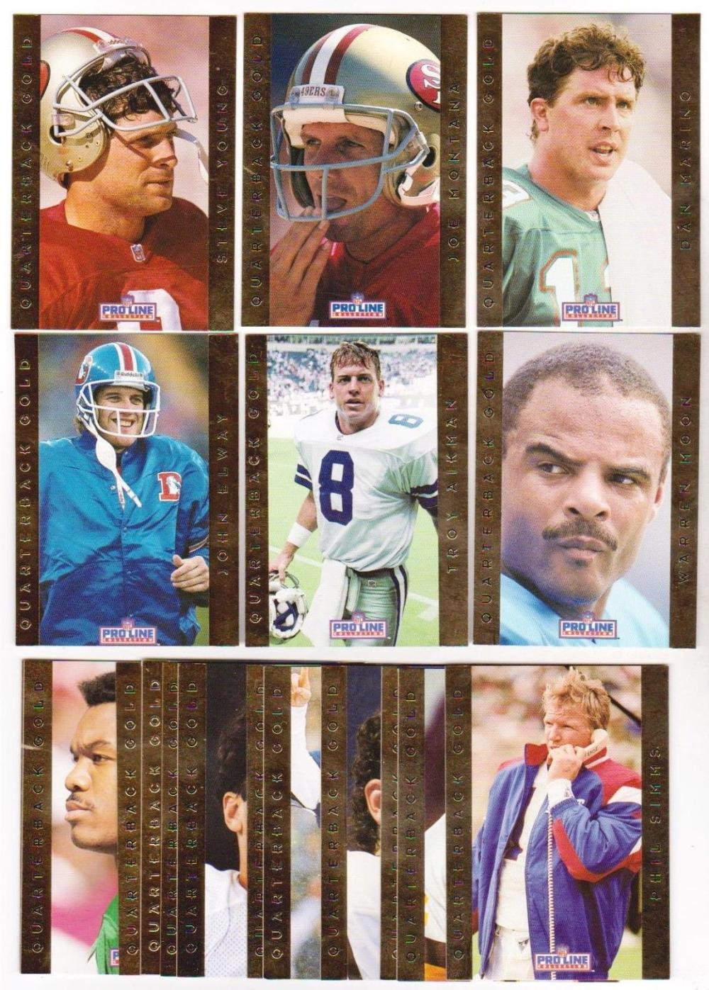 1992 Pro Line Quarterback Gold 18 Card Insert Set W/ Joe Montana, Dan Marino + More