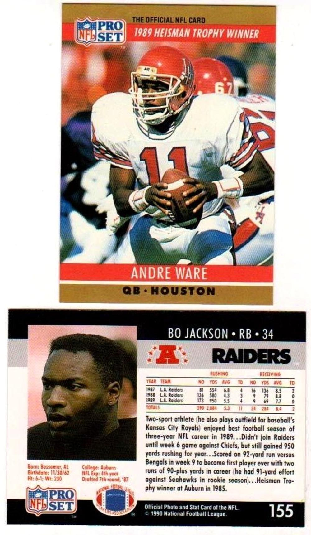 Lot Of 10 1990 Pro Set Wrong Back Errors - Andre Ware Front, Bo Jackson Back