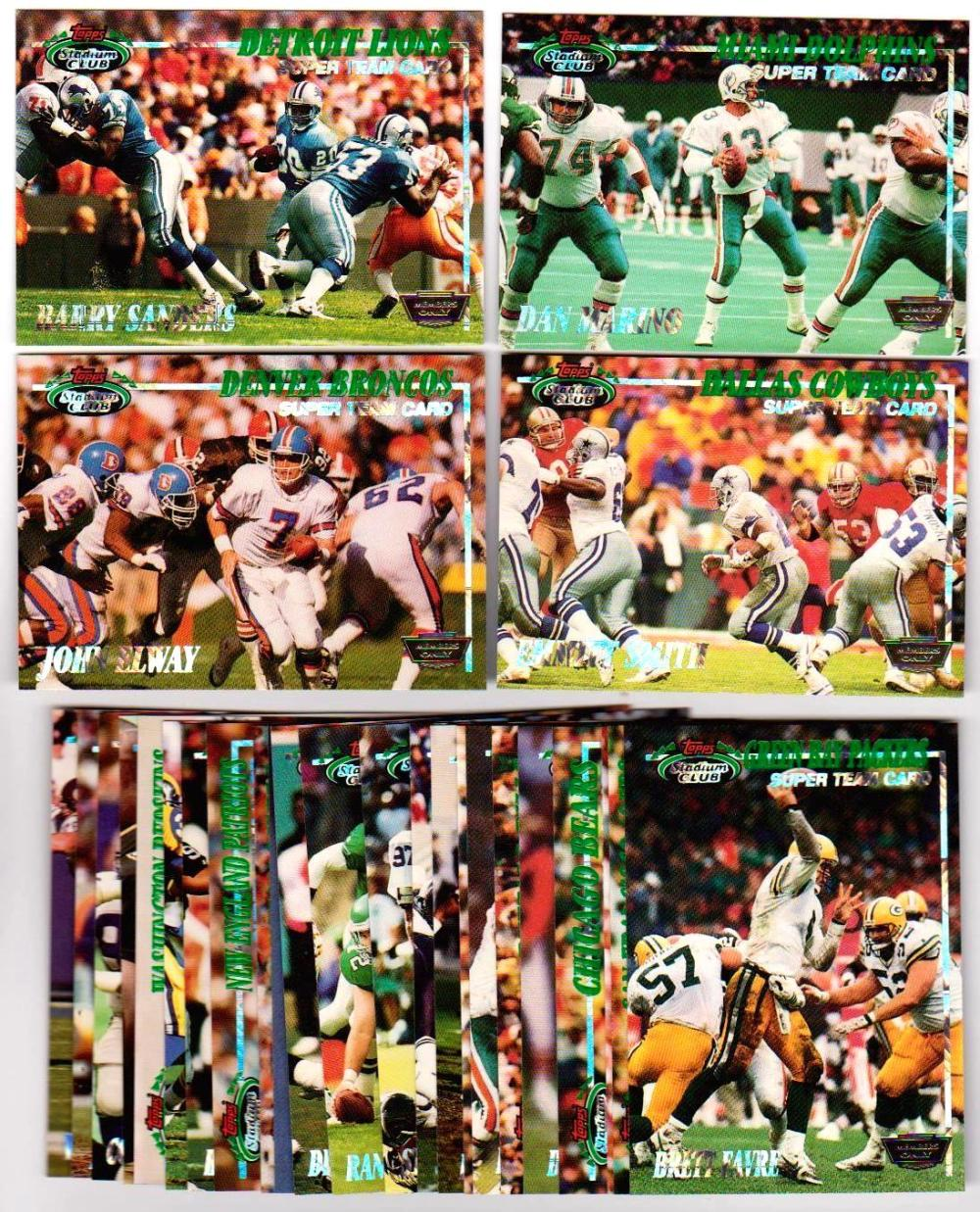 1993 Stadium Club Super Team MEMBERS ONLY 28 Card Set Favre Elway Marino Emmitt+