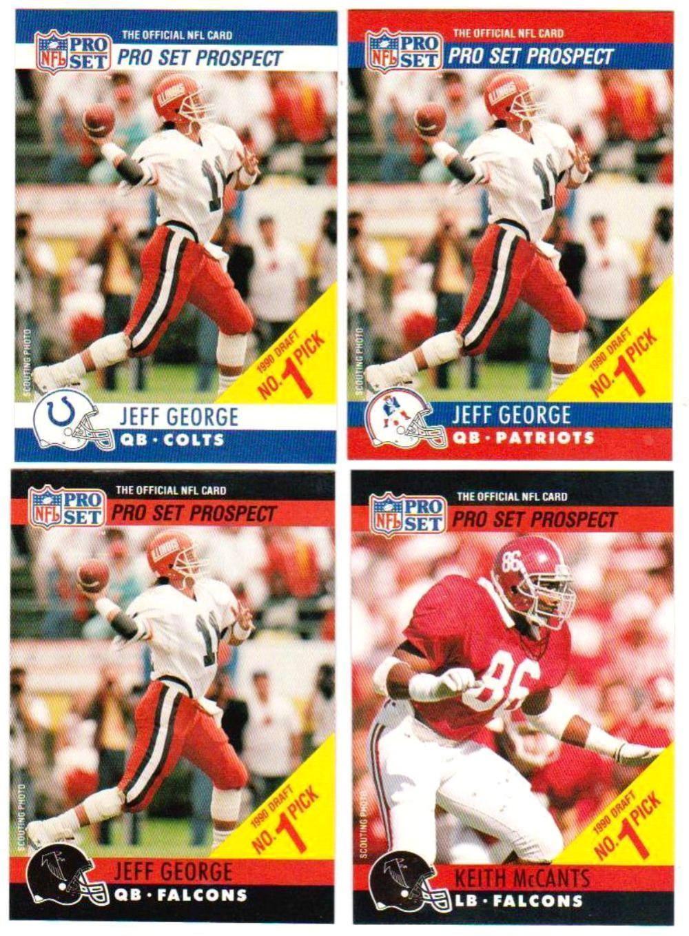 1990 Pro Set Jeff George/Keith McCants 4 Card Draft Day Set