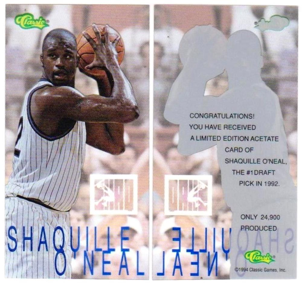 Lot of 5 1994 Classic ACETATE Shaquille O'Neal Tall Cards - 1 of 24,900 Scarce