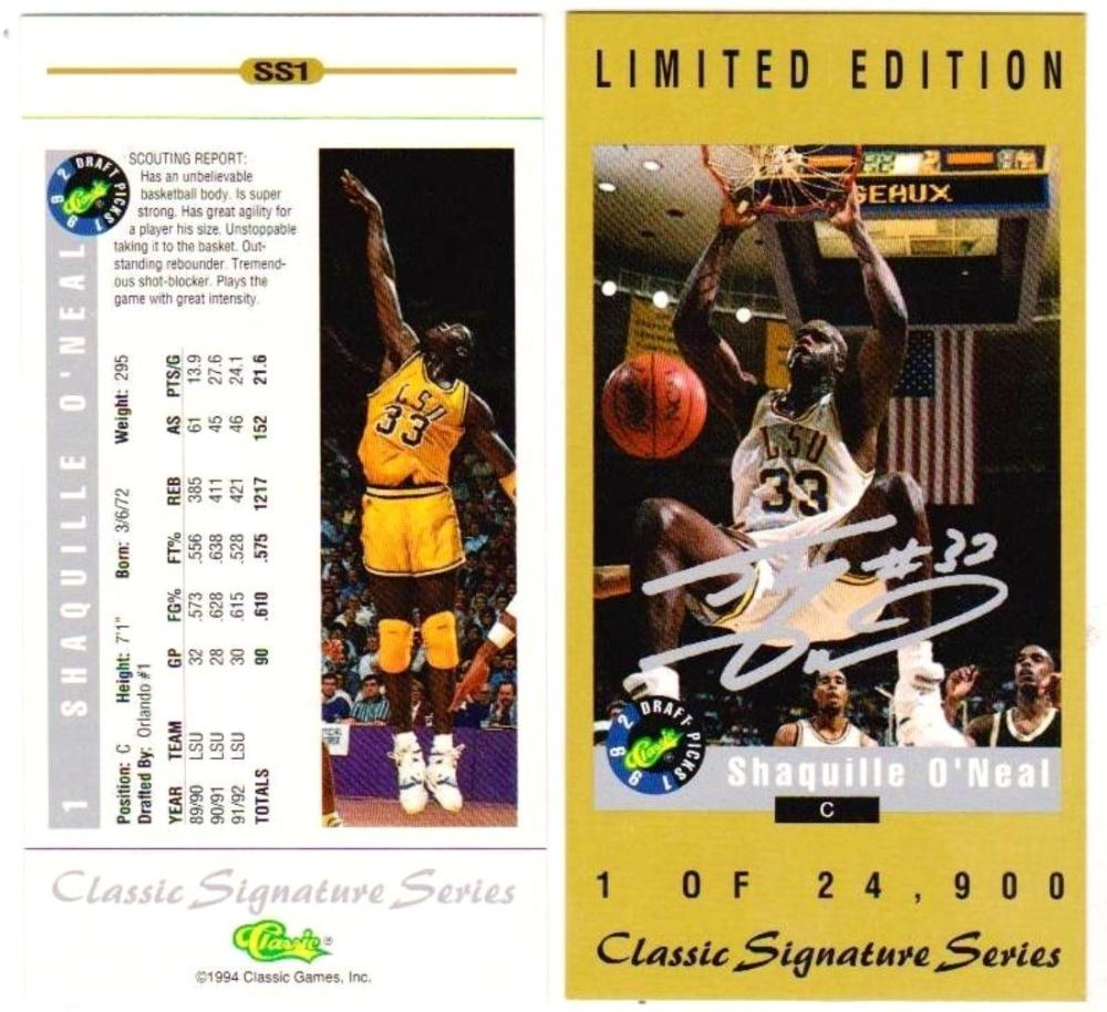 1994 Classic Signature Series #SS1 Shaquille O'Neal Tall Card (1 Of 24,900)