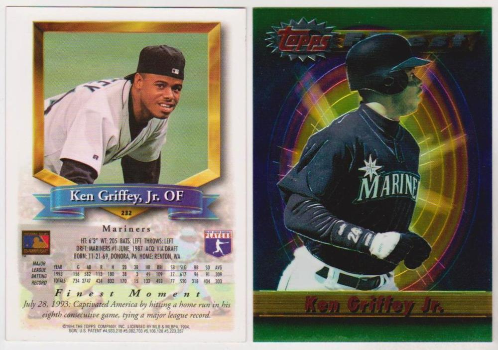 1994 Finest Jumbo Ken Griffey, Jr. #232 Card - Only Found In Boxes - Scarce