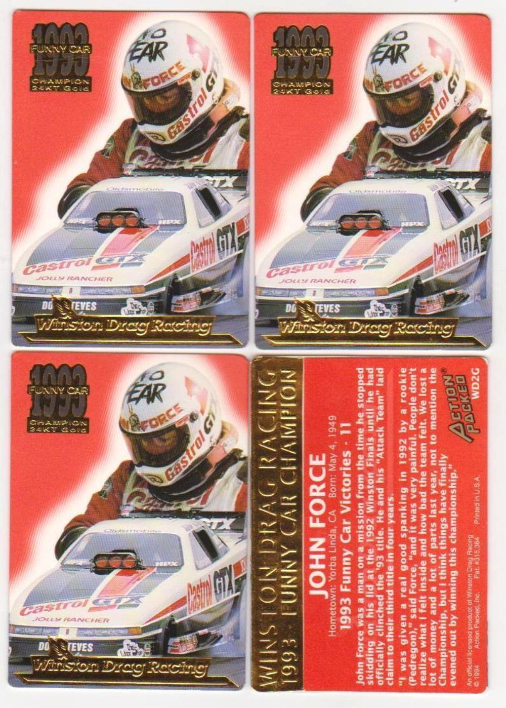 Lot of 4 1994 Action Packed 24 Kt Gold John Force #WD2G Drag Racing Cards