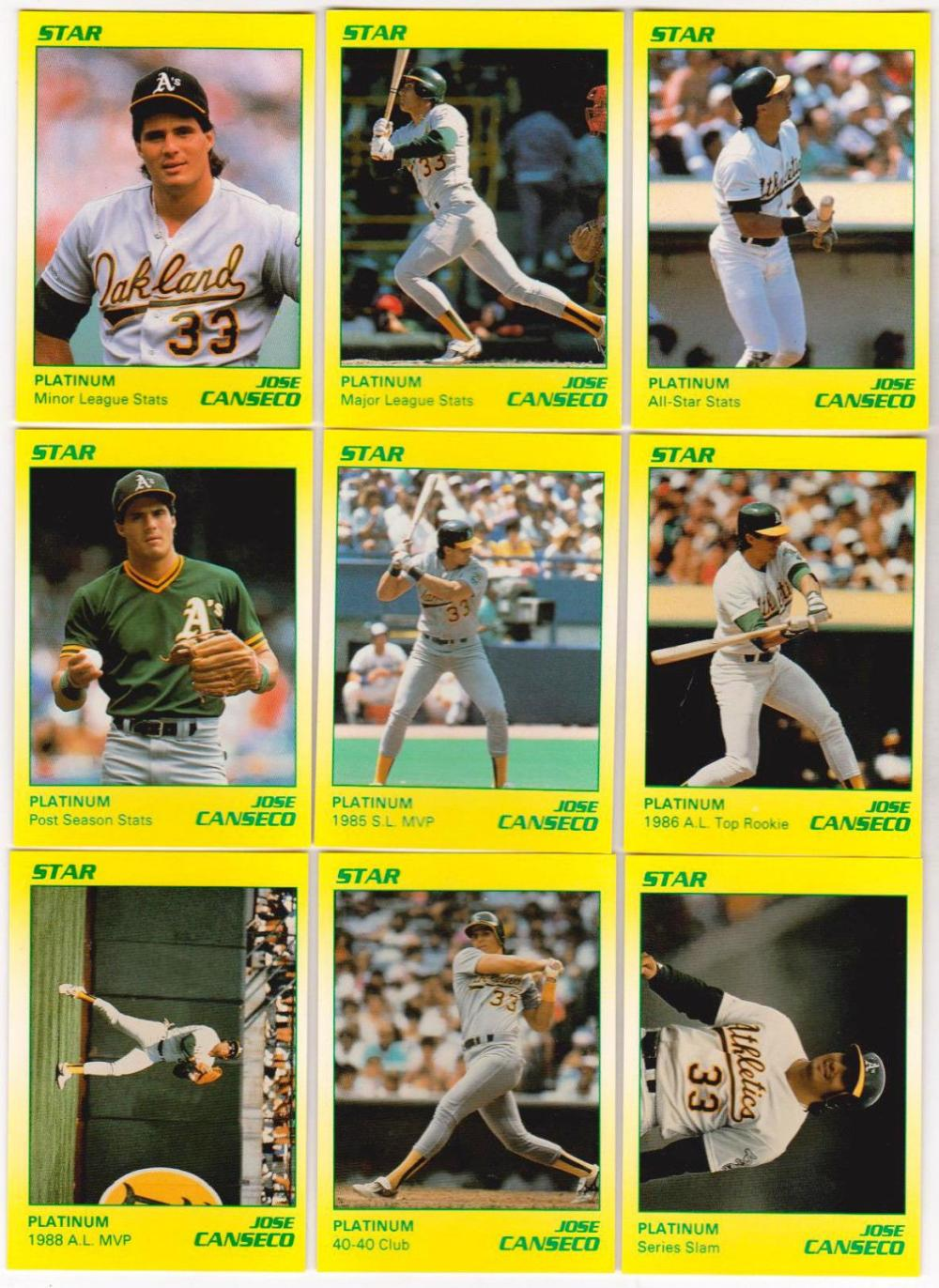 1990 Star Platinum Jose Canseco 9 Card Set - Only 1000 Sets Produced