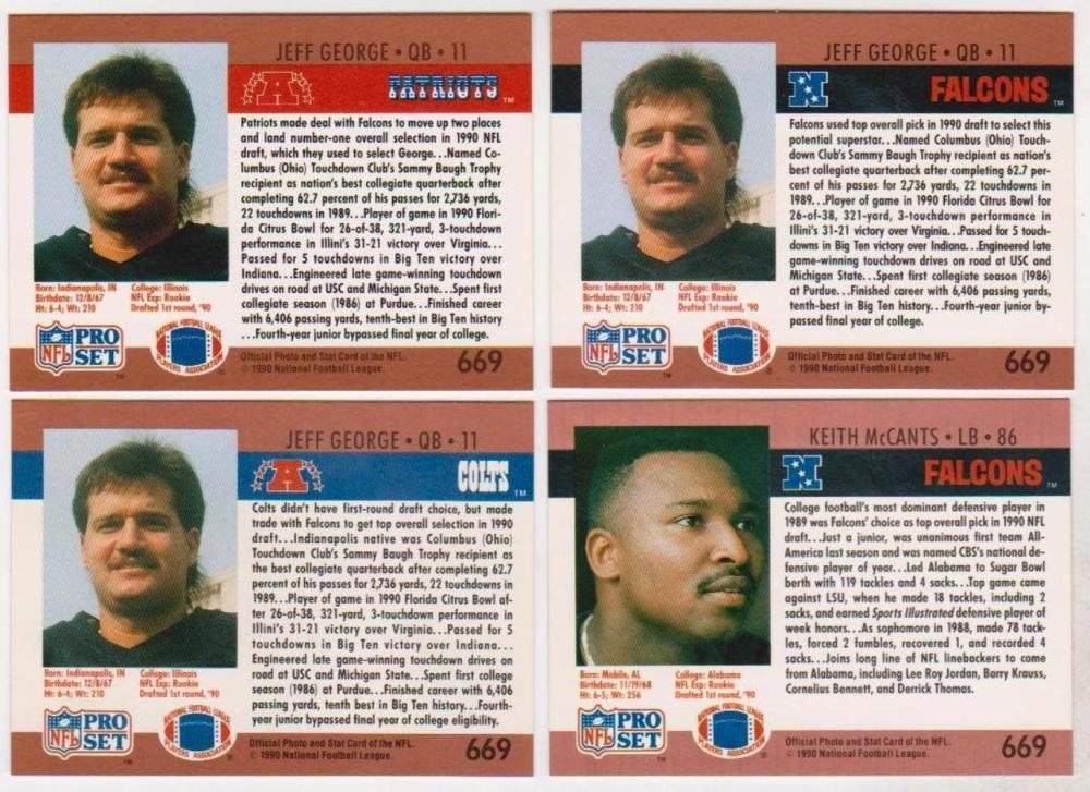 1990 Pro Set Jeff George/Keith McCants Draft Day Set BLANK FRONT GOLD BORDER