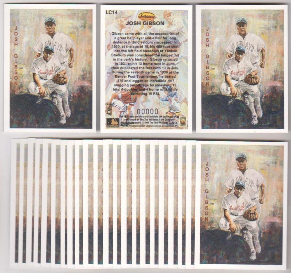 Lot of 25 1994 Ted Williams Company Locklear Josh Gibson #LC14 Insert Cards