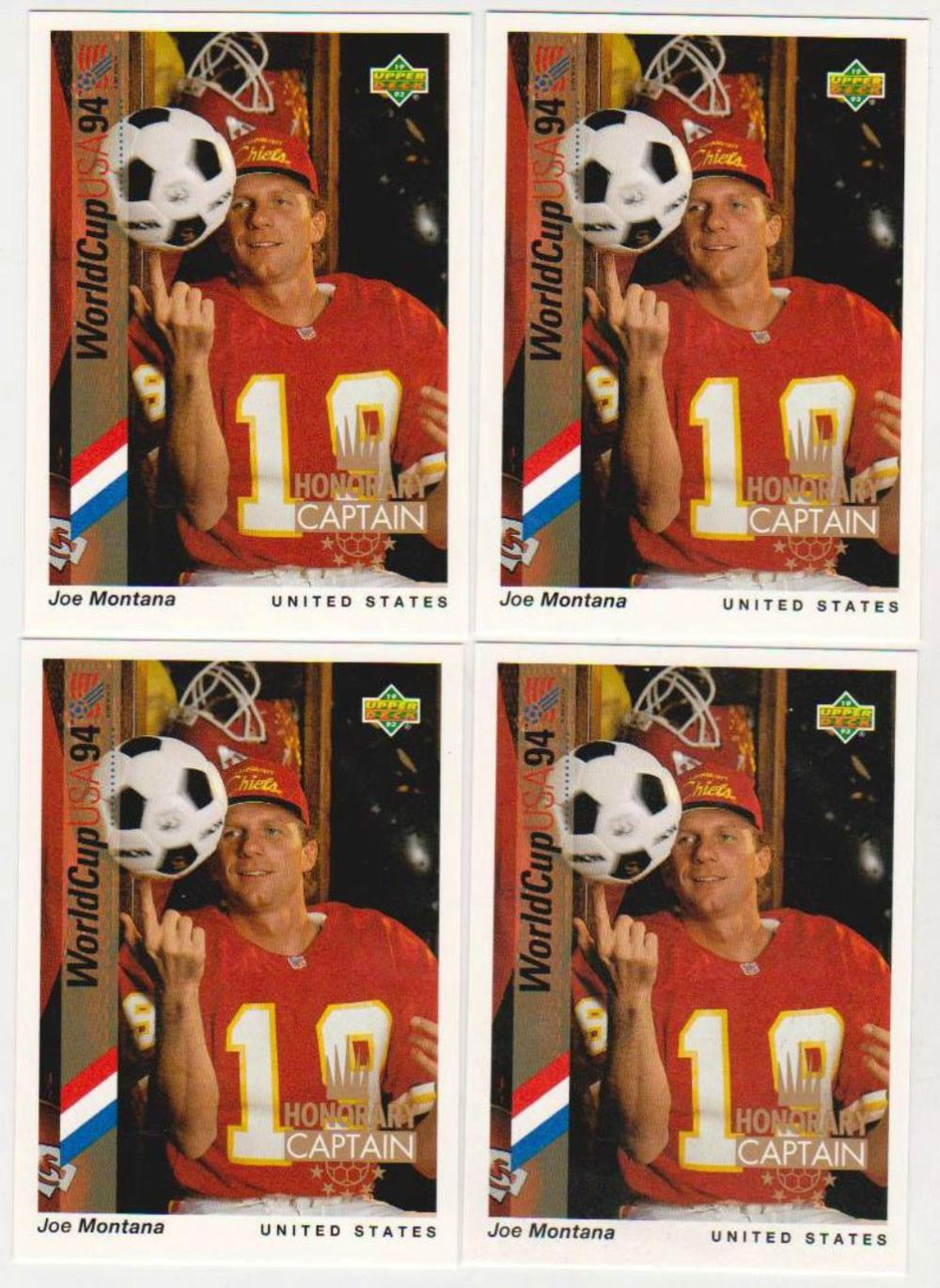 Lot of 4 1994 Upper Deck Honorary Captain Joe Montana #HC2 Insert Cards