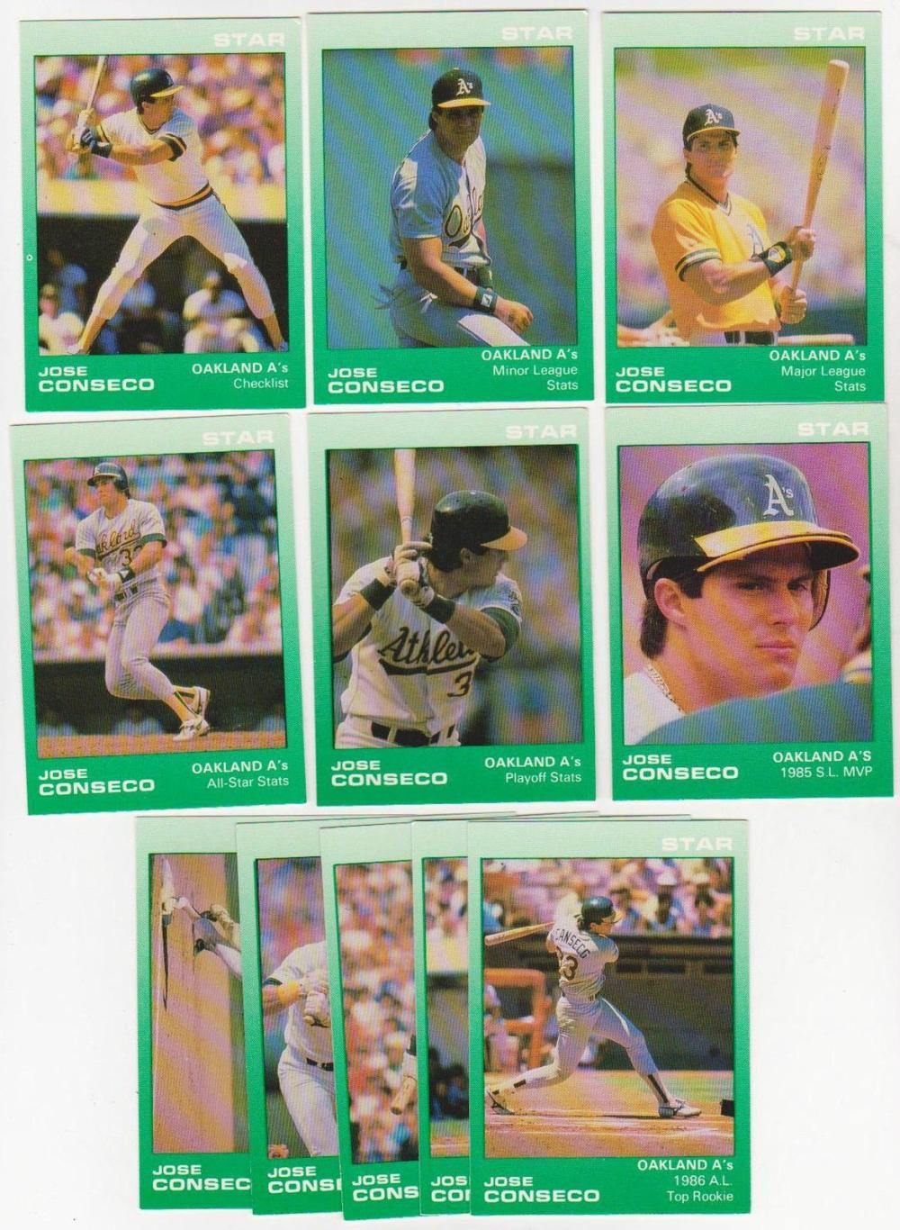 1988 Star Jose Canseco 11 card ERROR SET - Jose Conseco Front - Rare Set