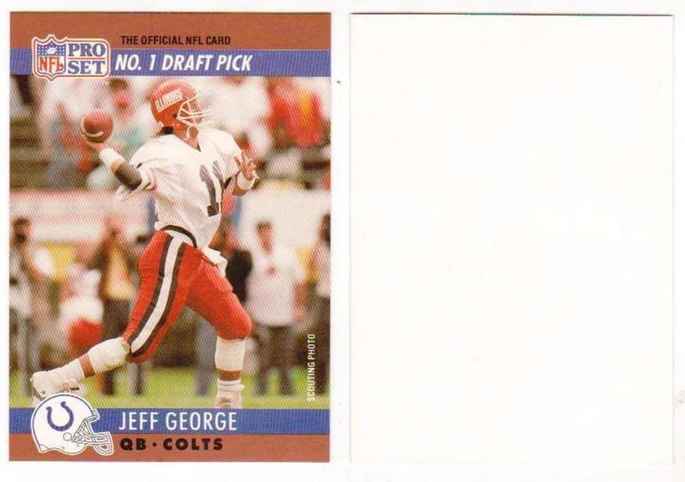 1990 Pro Set Jeff George Colts Draft Day - BLANK BACK BRONZE BORDER - Scarce
