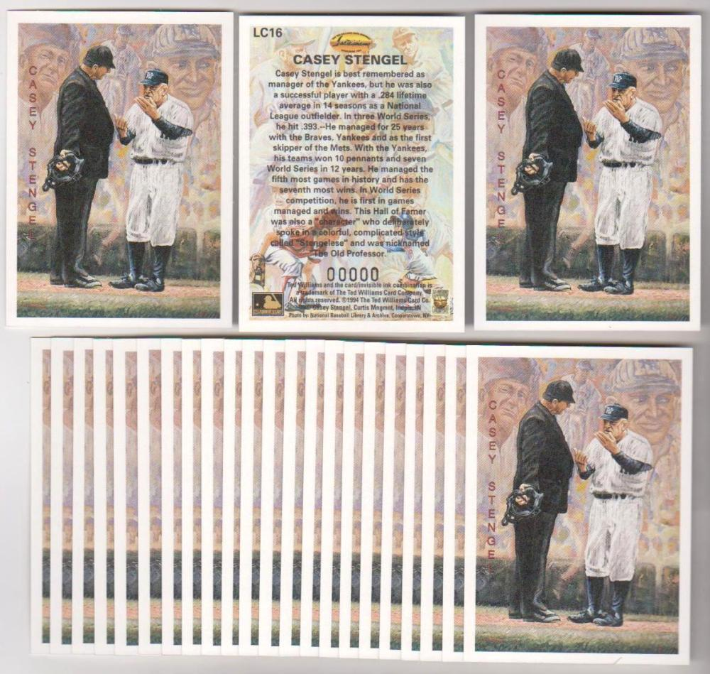 Lot of 25 1994 Ted Williams Company Locklear Casey Stengel #LC16 Insert Cards