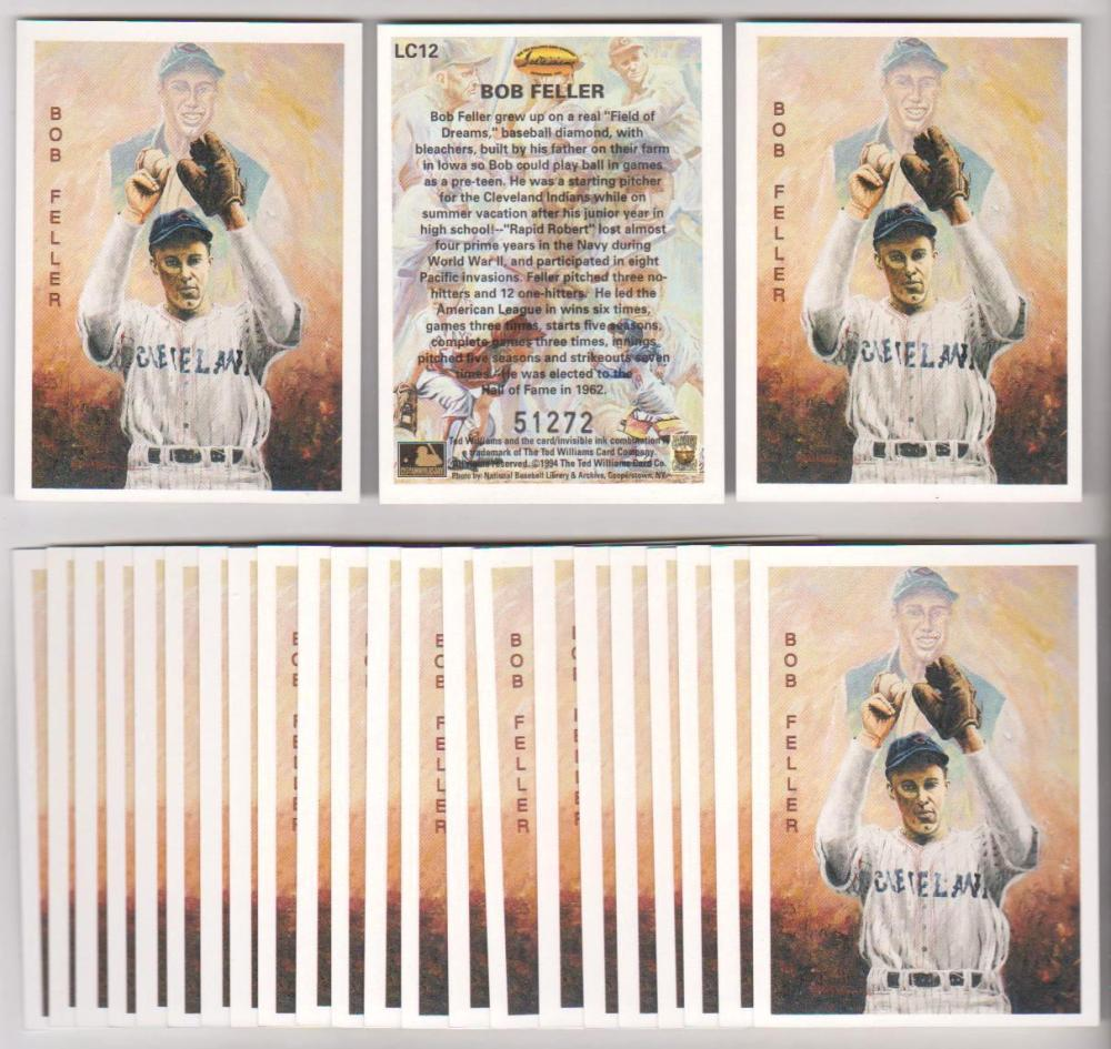 Lot of 25 1994 Ted Williams Company Locklear Bob Feller #LC12 Insert Cards