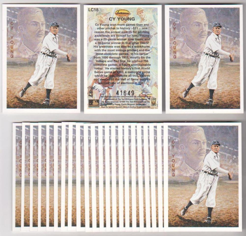 Lot of 25 1994 Ted Williams Company Locklear Cy Young #LC18 Insert Cards
