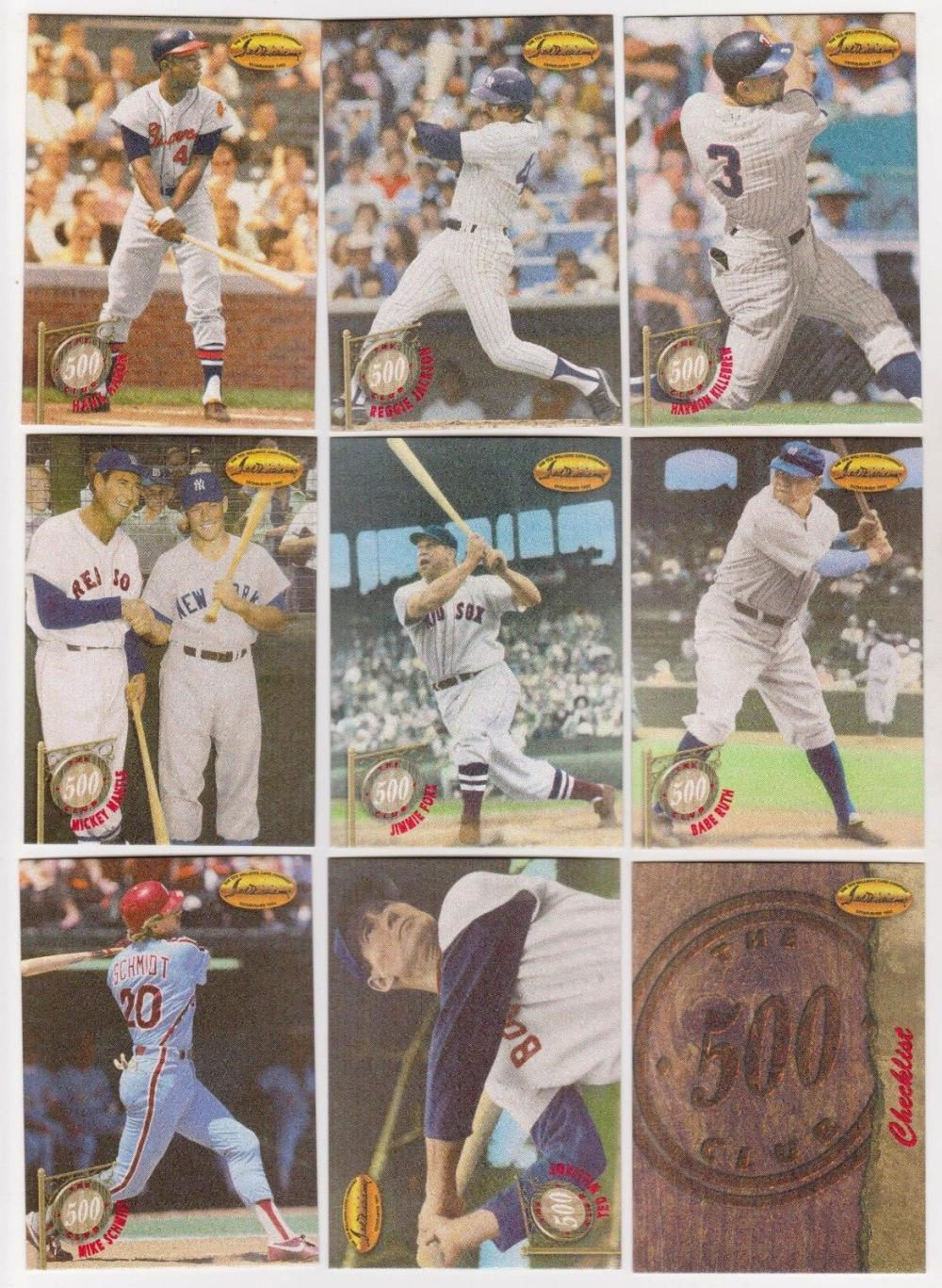 1994 Ted Williams Co. 500 Home Run Club RED VERSION 9 Card Insert Set