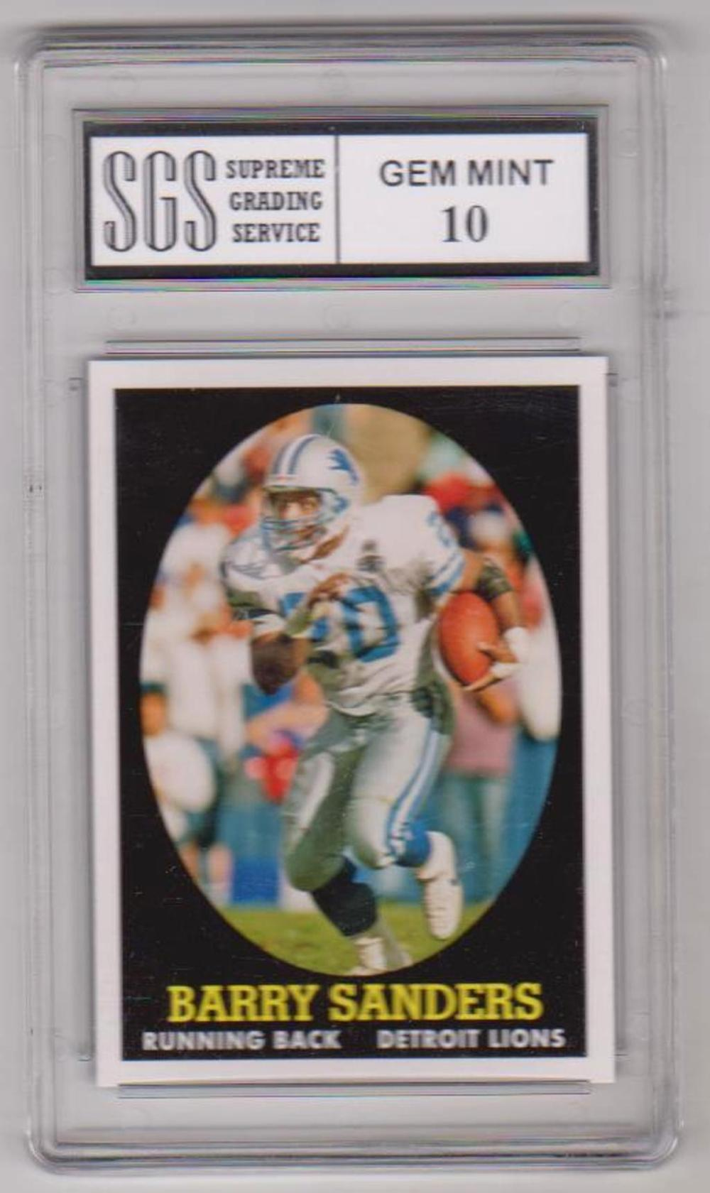 Graded Gem Mint 10 Barry Sanders 2007 Topps Turn Back The Clock #20 Card