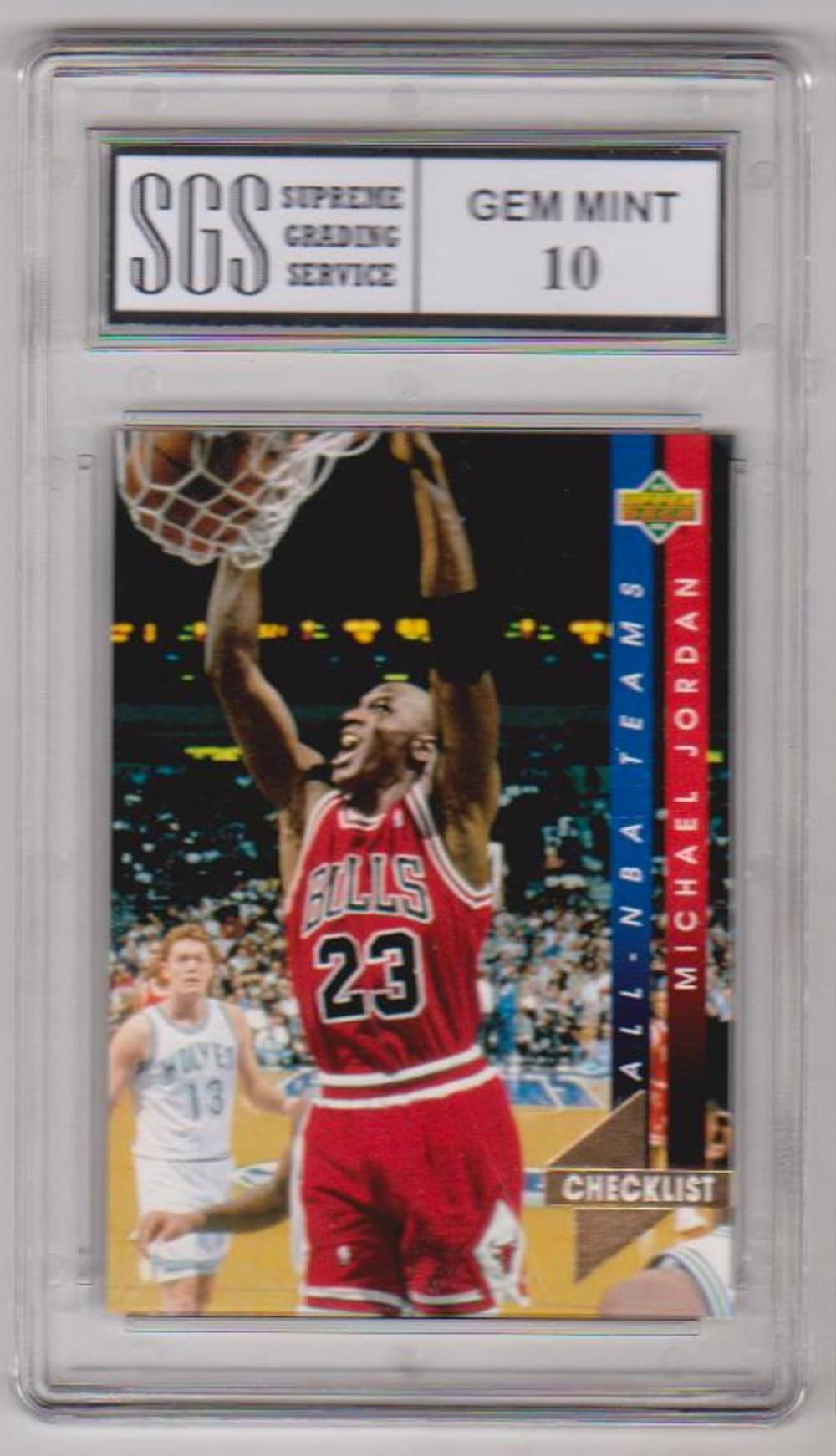 Graded Gem Mint 10 Michael Jordan 1993-94 Upper Deck All-NBA #AN15 Checklist Card