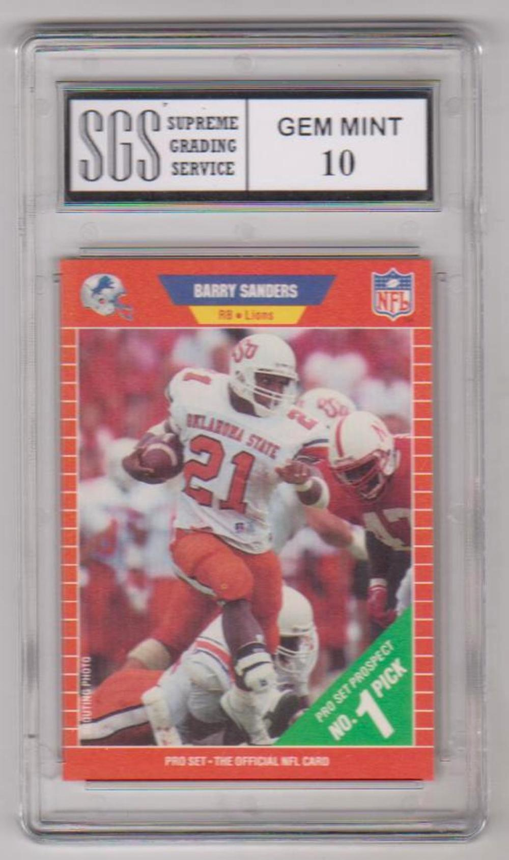 Graded Gem Mint 10 - Barry Sanders 1989 Pro Set #494 Card