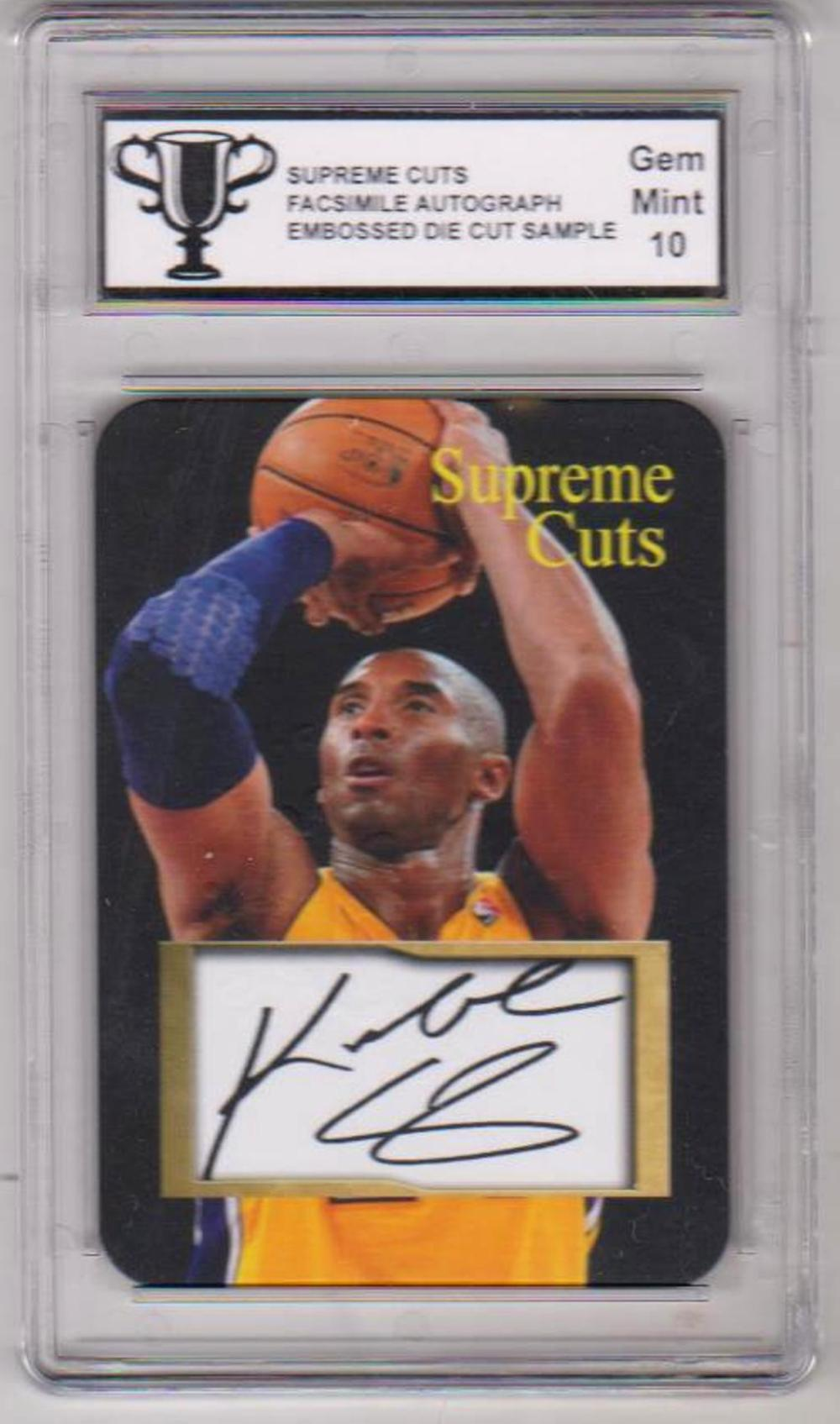 Graded Gem Mint 10 Kobe Bryant Supreme Cuts Facsimile Autograph Embossed Die Cut Sample Card