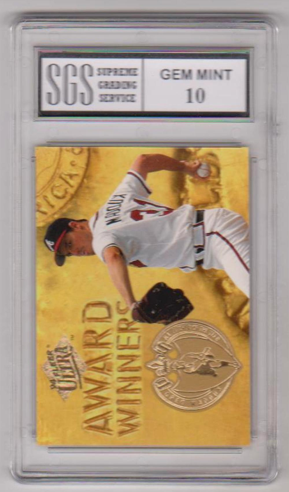 Graded Gem Mint 10 Greg Maddux 1994 Fleer Ultra Award Winners #23 Insert Card