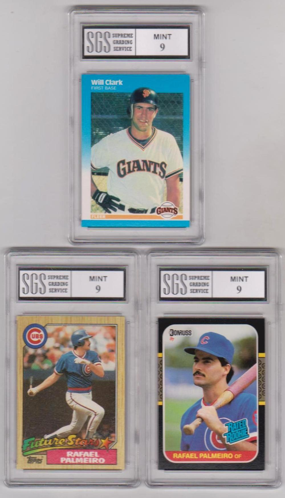 3 Different Graded Mint 9 Baseball Rookie Cards (Will Clark + Rafael Palmeiro x 2)