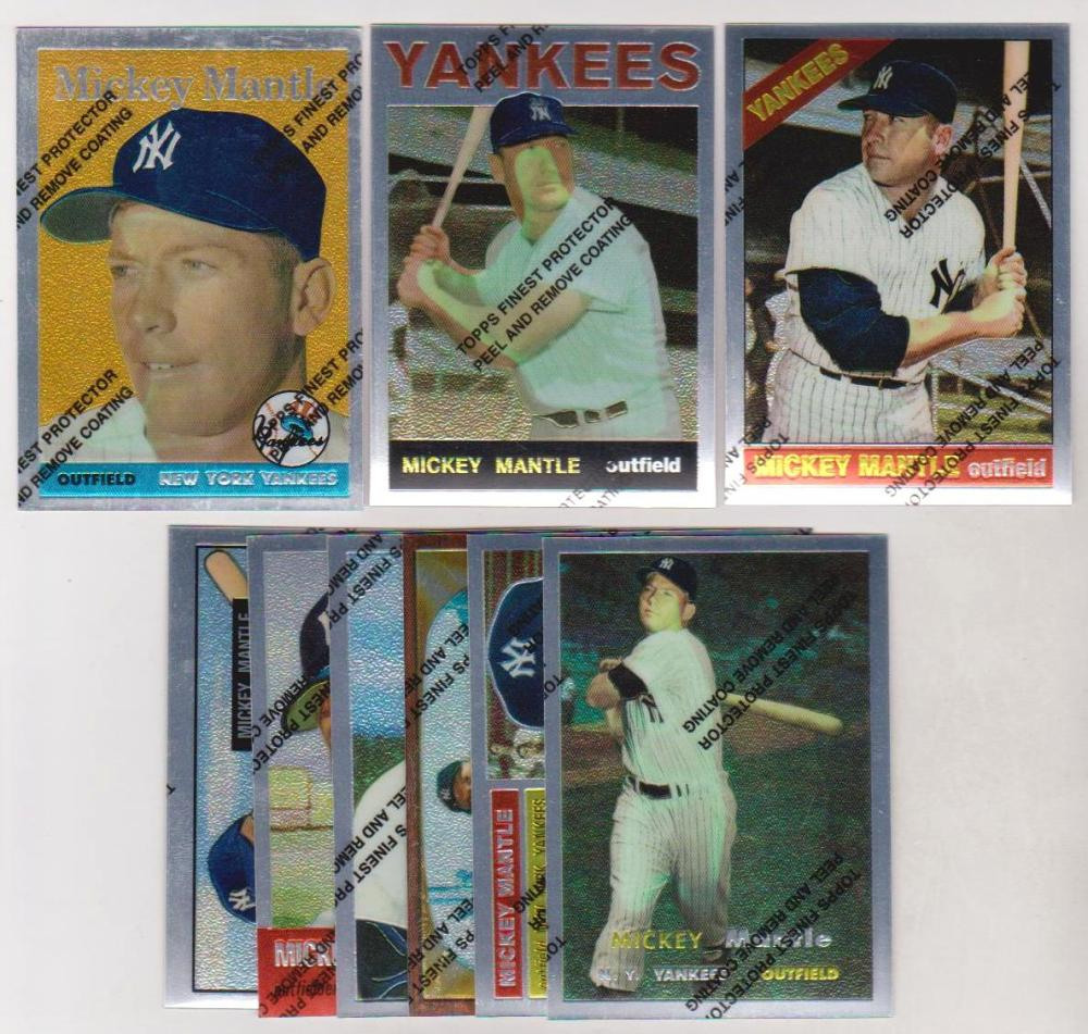 9 Different Mickey Mantle 1996 Topps Finest Commemorative Insert Cards