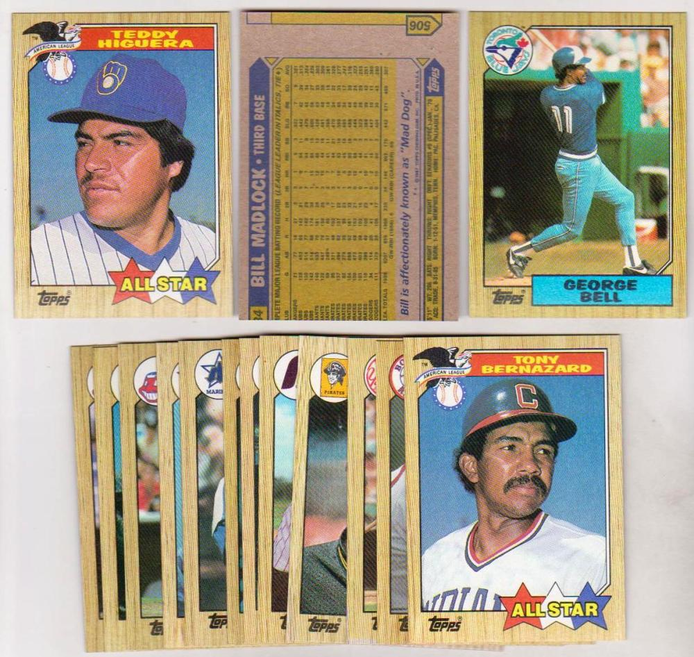 Error Lot - 15 Different 1987 Topps Baseball Wrong Backs