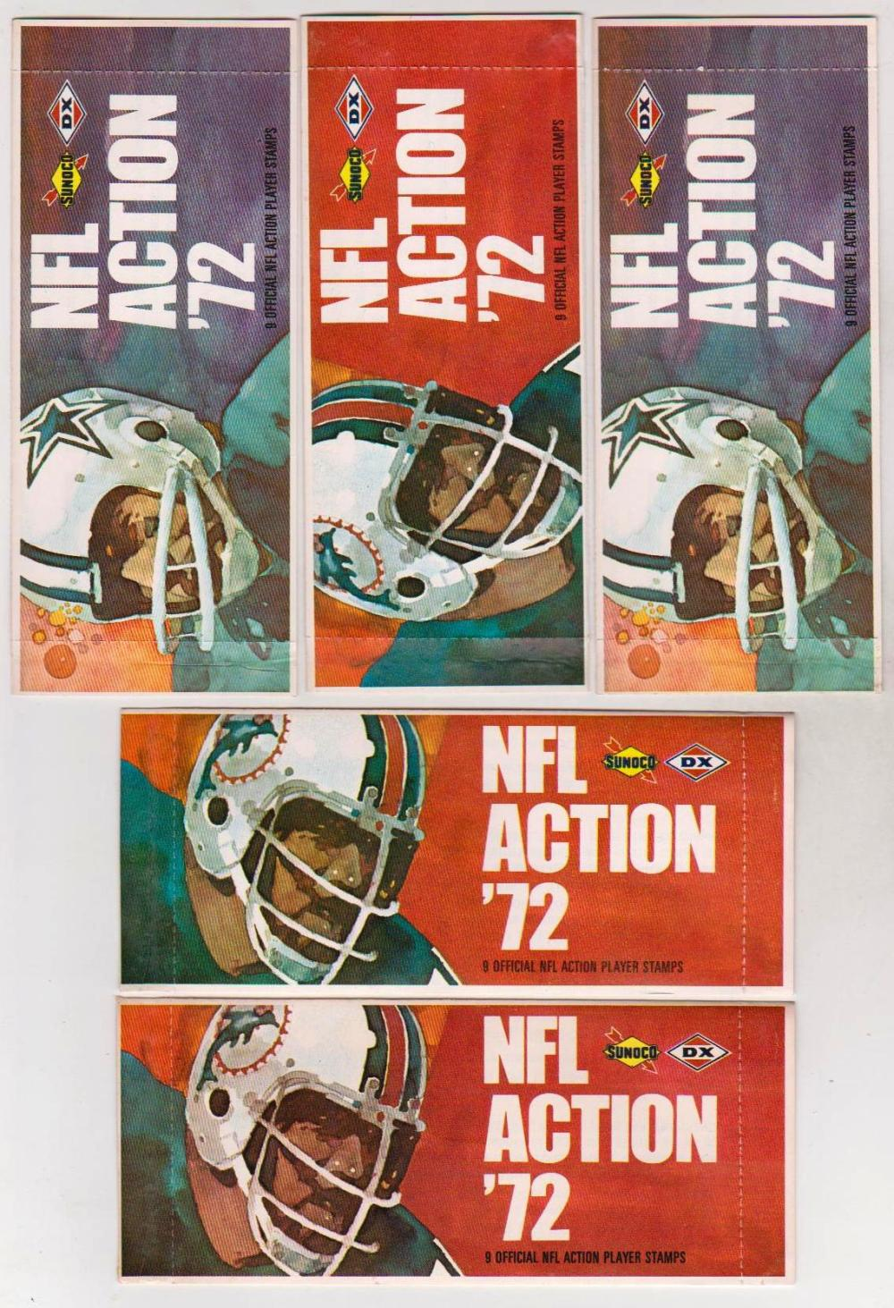 Lot of 5 Sealed 1972 Sunoco NFL Action '72 Packs With 9 Player Stamps Inside Each Pack