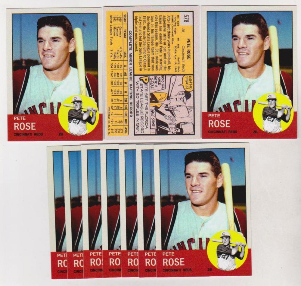 Lot of 10 Pete Rose 1963 Topps Style ACEO Rookie Reprints