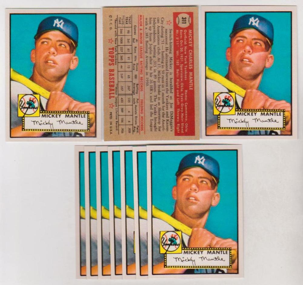 Lot of 10 Mickey Mantle 1952 Topps #311 Reprint Cards