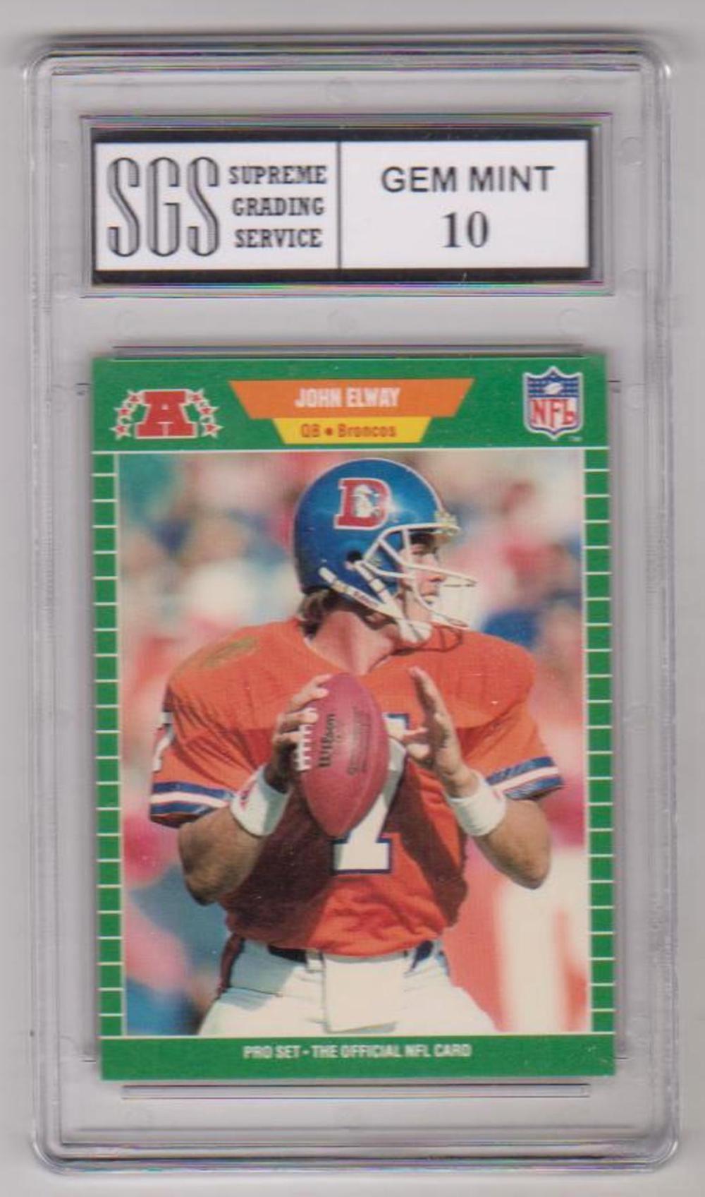 sold price graded gem mint 10 john elway 1989 pro set
