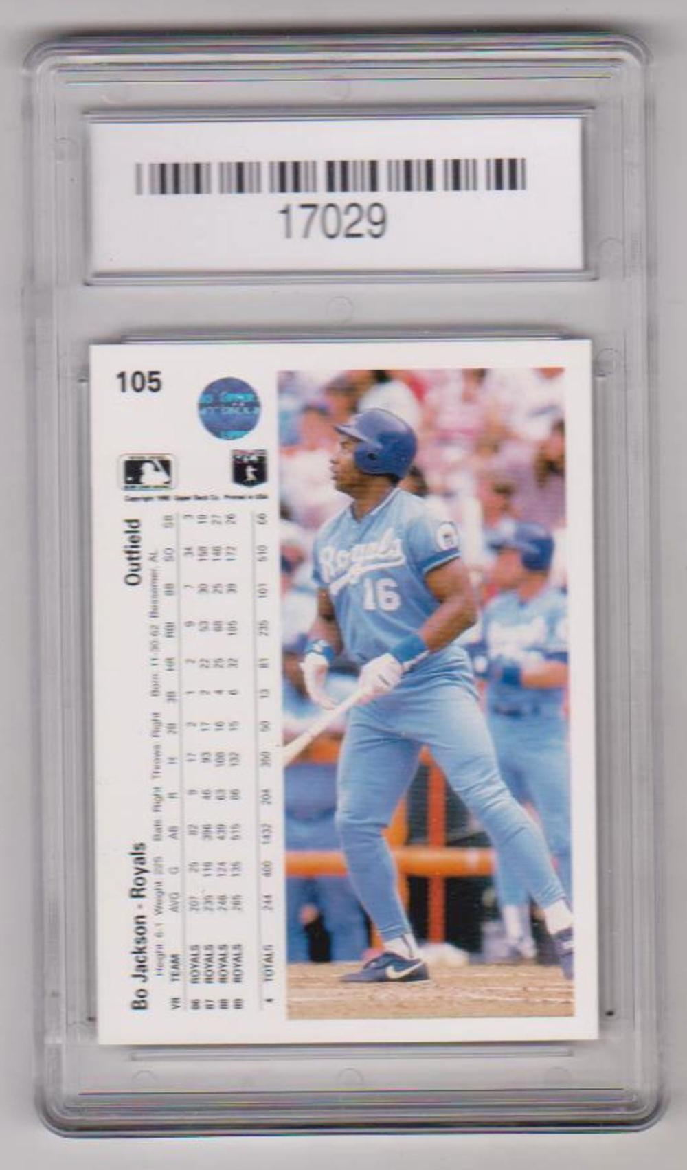 Graded Gem Mint 10 Bo Jackson 1990 Upper Deck 105 Card