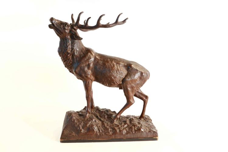 Metal sculpture red stag by Paul Aichele - Berlin
