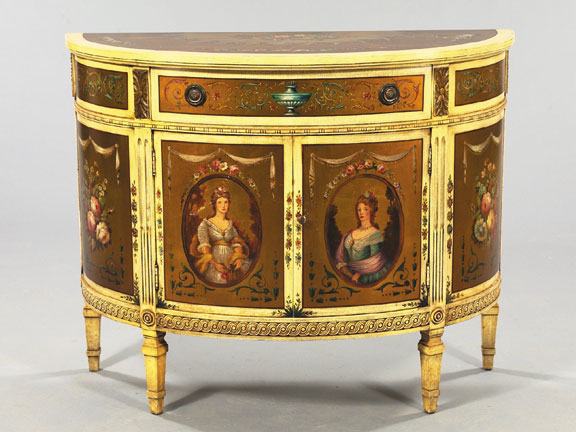 """George VI Carved, Polychromed and Parcel-Gilt Demi-Lune Cabinet, in the style of Robert Adam (1728-1792), the doors each with a portrait of a Georgian beauty, the frieze fitted with a central drawer, h. 34"""", w. 43"""", d. 19-1/2""""."""