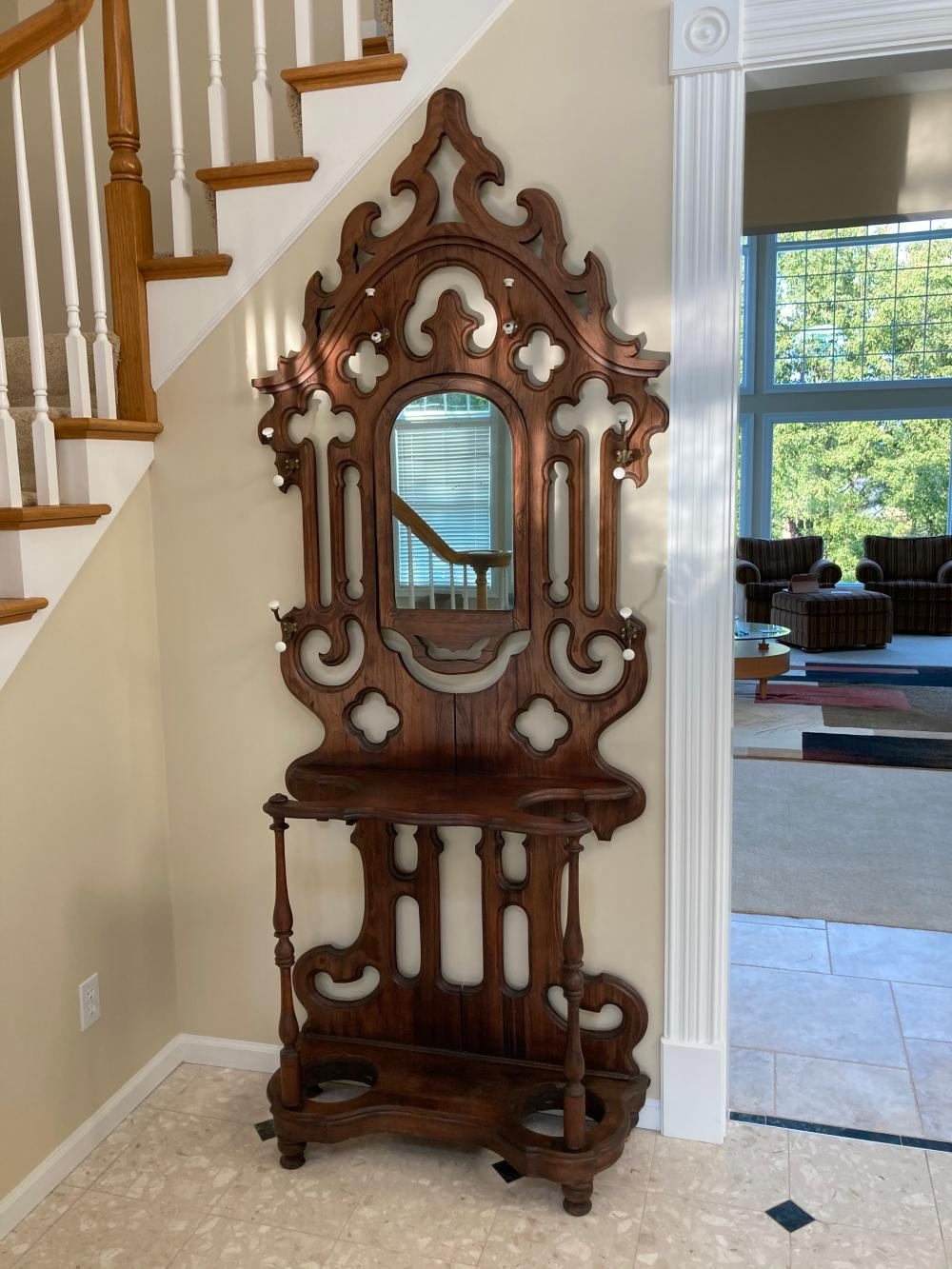 Sold Price Antique Hall Tree Dark Stained Wood Invalid Date Cdt