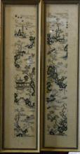 Pair Chinese Embroidery Stich of Scholar Boating Scene - Taiping