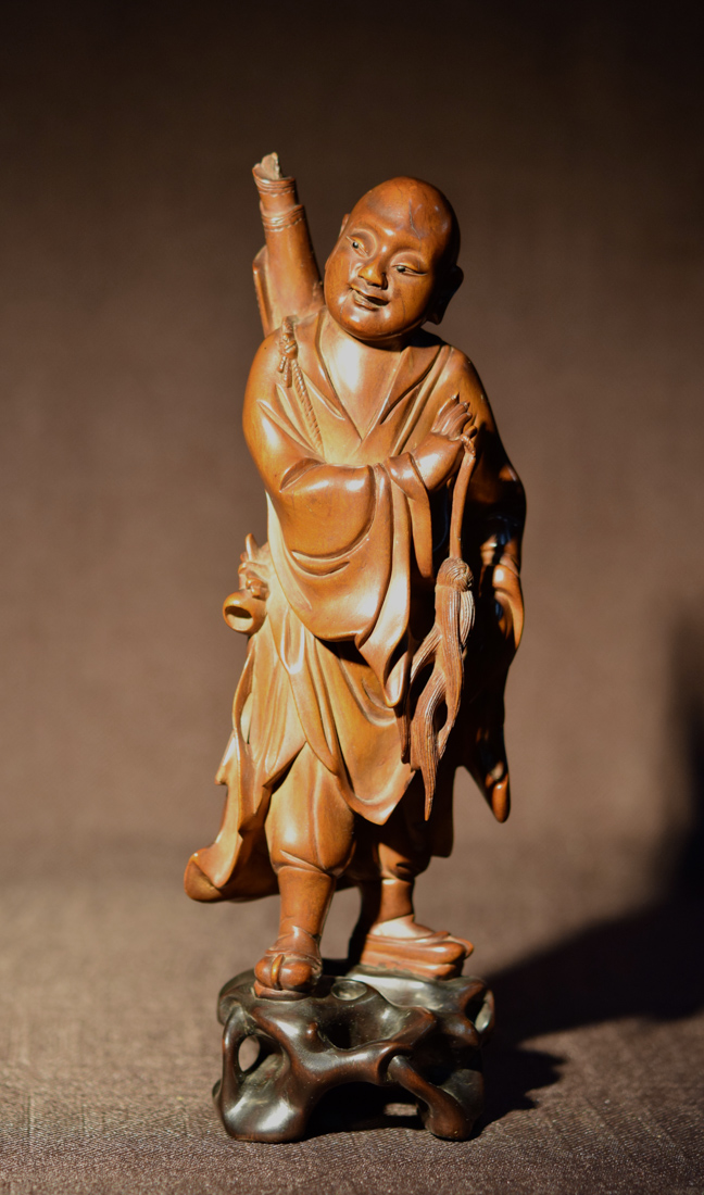 Chinese boxwood carving of a lohan
