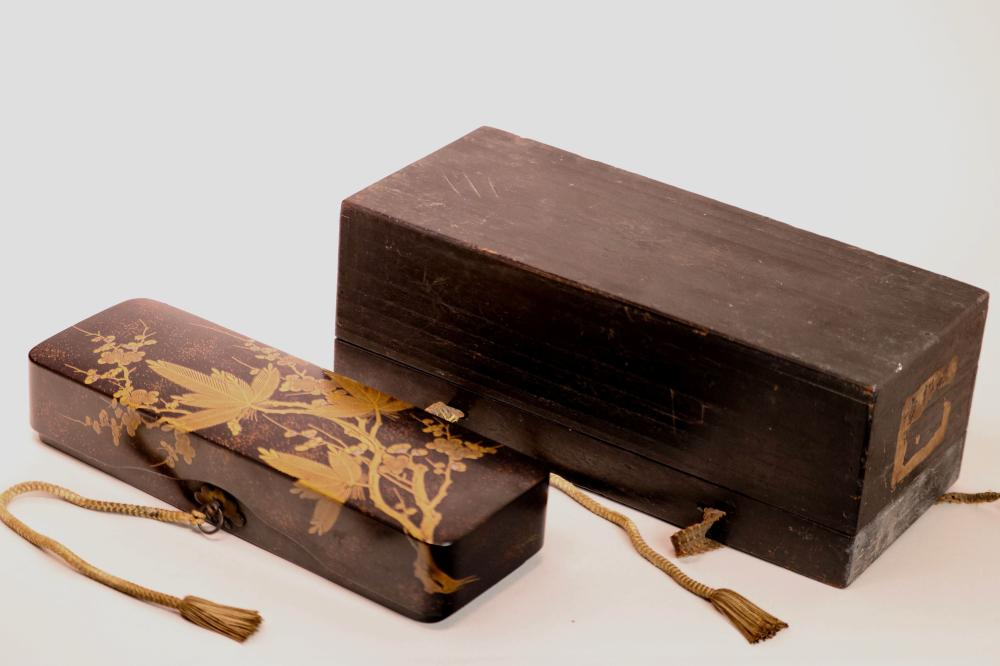 Japanese lacquerDocument Box with Wood Case