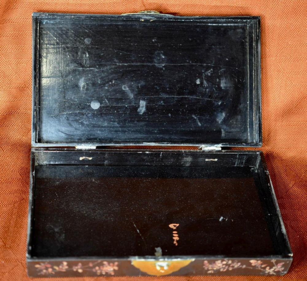 Chinese Lacquer Box with Mother of Pearl Inlay
