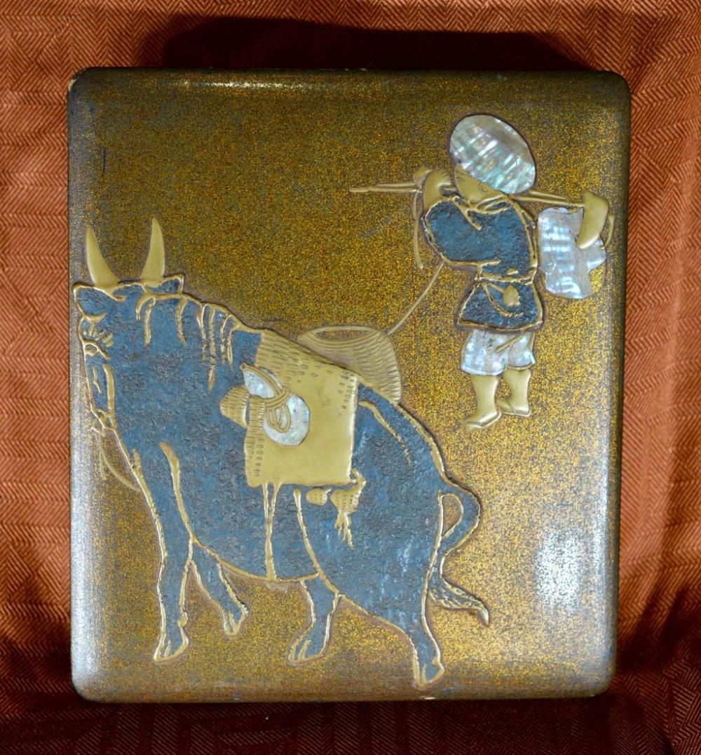 Japanese lacquer Writing Box - Boy with Ox